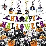 Hedallo Halloween-Party-Dekorationen, Happy Halloween-Banner, PVC-Spiraldekoration, Kürbis-Geister, Geister, Geister, Fledermäuse, Spinnen für Zuhause, Schule, Kinder-Partyzubehör