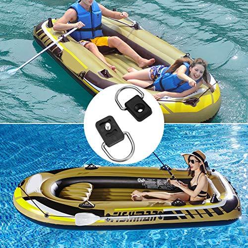 GOTOP Kayak D Anillo, 10 Piezas Negro Canoa Kayak Pesca Rigging D Ring Outfitting con M6 Tornillos para Bungee Kit Accesorio