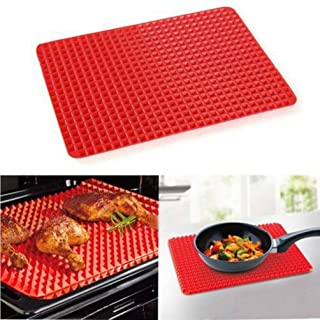 ODIN-Pans - Multi-function Meat Pad BBQ Mat Silicone BBQ Pyramid Pan Fat Reducing Slip Oven Baking Grill Oil Filter Pad Sh...