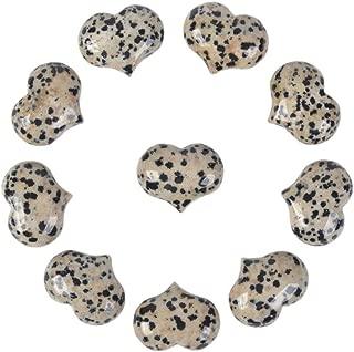 Natural Dalmatian Jasper Gemstone Healing Crystal 1 inch Mini Puffy Heart Pocket Stone Iron Gift Box (Pack of 10)