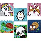 Tenare 6 Pieces 5D Kids Diamond Painting Kit for Kids Full Drill Painting by Number Kits Easy to DIY Diamond Painting for Beginners DIY Diamond Rhinestone Art and Crafts Set for Home Wall Decor