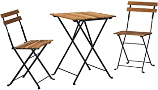 HOMPUS 3-Piece Patio Bistro Set Folding Table and Chairs, Wooden Weather Resistant Outdoor Furniture Sets, No Assembly Nee...