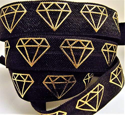 Fold Over Elastic - Gold Foil Geometrical Diamond Shape Print On Black Elastic - 5/8' Wide, 5 Yards. for DIY Headbands, Wristbands, or Wedding Hair Ties!