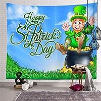 """壁のタペストリー聖パトリックの日、インドのヒッピーボヘミアングリーンアイリッシュビールシャムロックの葉と帽子壁掛けタペストリー、寝室の家の装飾のためのポリエステル生地のタペストリー-59 """"x79"""""""