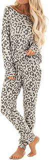 بيجامات نسائية , أطقم بيجامات بطبعة الفهد مكونة من قطعتين , بدلة نسائية , بدلة نوم نسائية , ملابس نوم نسائية , مقاس L
