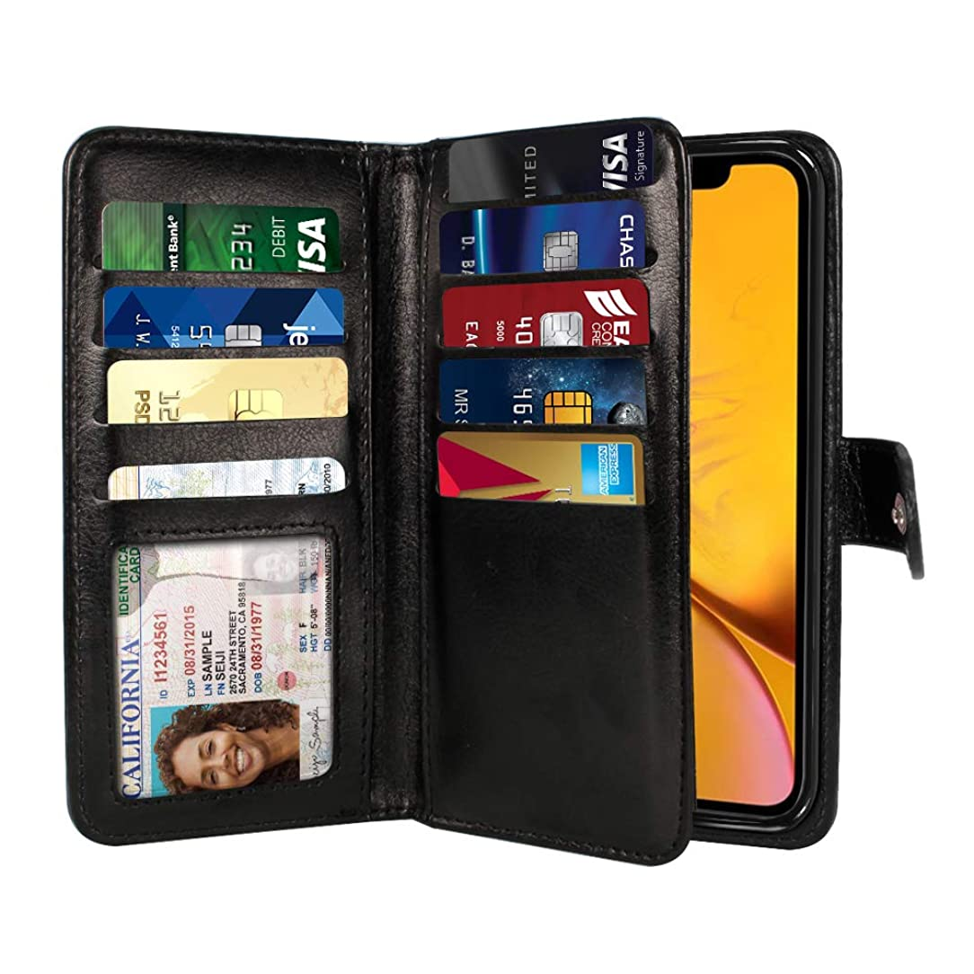 NEXTKIN Case Compatible with Apple iPhone XR 6.1 inch, Leather Dual Wallet Folio TPU Cover, 2 Large Pockets Double Flap, Multi Card Slots Snap Button Strap for iPhone XR - Black