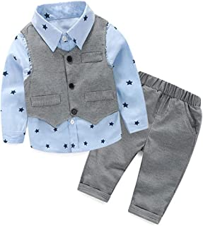 Toddler Little Infant Boys' Dressy 3 Pieces Cotton Clothes Set with Vest, Shirt and Pant for 2 3 4 5 Years Old