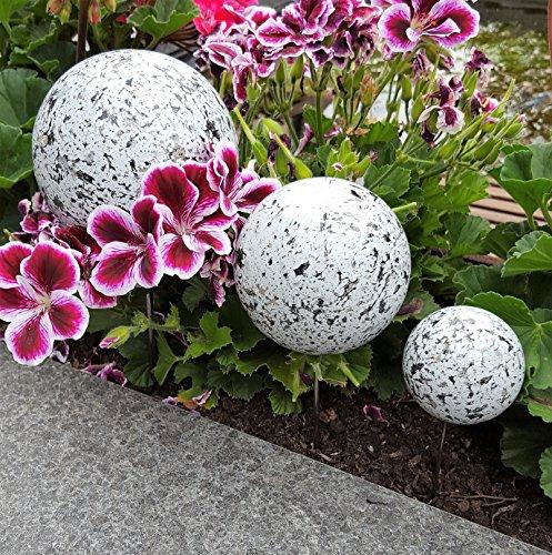 Pflanzstecker 3er Set aus Edelstahl mit Kugeln in Granit weiß Beetstecker Gartenstecker