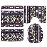 Not Applicable Gray Border Aztec Tribal Graphic Graphic Abstract Drawn Pink Floral Hand Pattern Peru African 3Pcs Set de baño Alfombra Mat Contour Mat + Tapa de Inodoro + tapetes de baño