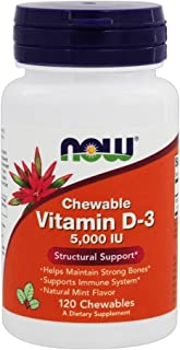 Now Foods Vitamin D-3 5000 Iu Chewable, Mint, 120-Count ( Multi-Pack)