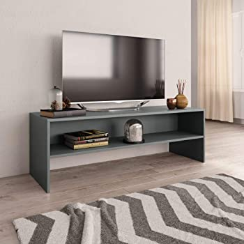 UnfadeMemory Mueble para TV,Mesa para TV,Estante de TV para Salón Dormitorio,Estilo Clásico,con Compartimento Abierto,Madera Aglomerada (Gris, 120x40x40cm): Amazon.es: Hogar