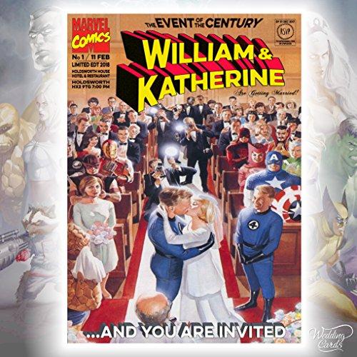Fantástico 4 Batman Catwomen Marvel Comics boda cumpleaños Invitación Invitación Superman Robin...