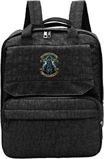 LONPENE Never Underestimate an Old Man with A Motorcycle Travel Hiking Backpack Fashion Bookbag, Black
