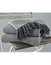 EHC Herringbone Large 100% Baumwolle Sofa Armchair Blanket Throw, 150 x 200 cm - Grau