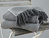 EHC – Manta King size de 220 x 250 cm, 100 % algodón para cama y sofa, color gris y diseño en forma de espigas