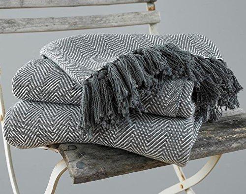 EHC Tagesdecke, King Size, Fischgrätendesign, 100 % Baumwolle, Überwurf für Sofa / Bett, 220 x 250 cm, Grau