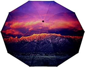 10 ribs multi-function automatic on/off - sun protection - rainproof - windproof umbrella, theme - Snow Dusted Sandia Mountains at Magic Hour