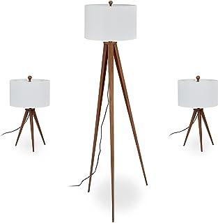 Relaxdays Lampe trépied en lot de 3, 1 lampadaire et 2 pour le chevet, design rétro, E27, avec câble, marron/blanc