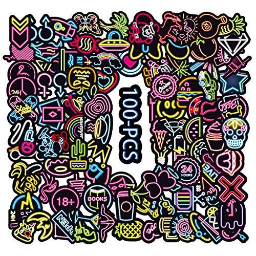 100 Graffiti-Aufkleber, Neonlicht, Vinyl, wasserdicht, für Snowboard, Skateboard, Laptop, Gepäck, Taschen, Party und Schgool-Zubehör