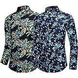 Hombres Impresos Camisas Hawaianas Manga Corta Botón Casual Abajo Camisetas de Manga Larga Camisetas de algodón de Playa Delgada Tops 2 Paquetes Combinación aleatoria-1-9_7XL