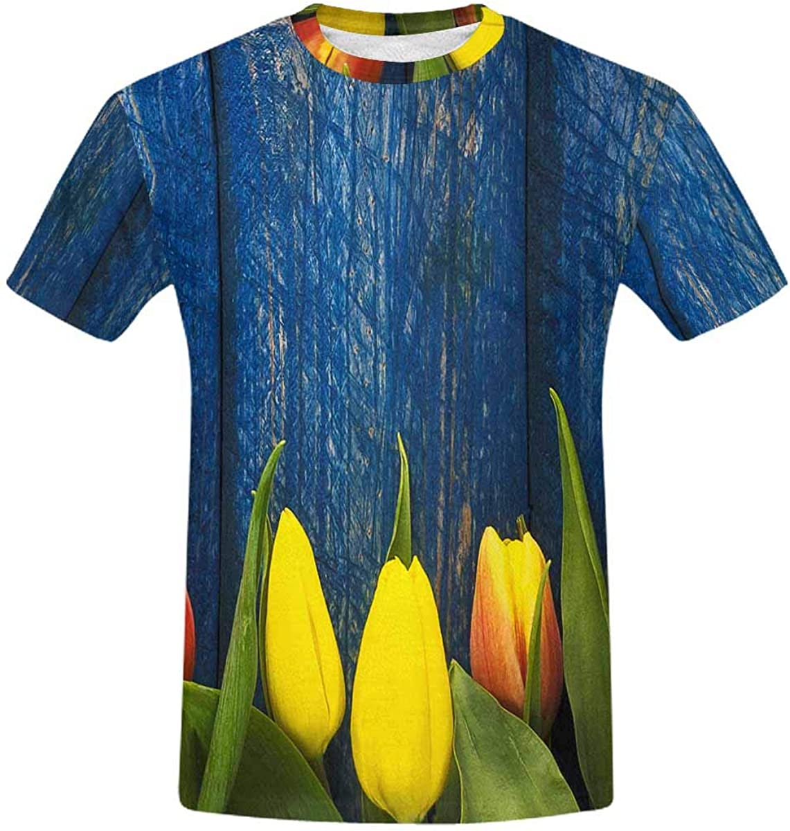 INTERESTPRINT Abstract shopping Spring Tulips Flowers On Clas Wooden Blue quality assurance