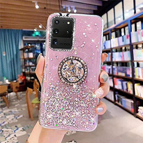Samsung Galaxy S20 Ultra Coque Transparent Glitter avec Support Bague,étoilé Bling Paillettes Motif Silicone Gel TPU Housse de Protection Ultra Mince Clair Souple Case pour Galaxy S20 Ultra,Rose