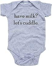 Funny Baby Infant Have Milk Let's Cuddle Short Sleeve Cute Soft Cotton Bodysuit