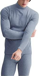 RONSHIN Men's 2Pcs Mock Neck Solid Warm Thick Brushed Thermal Underwear Set