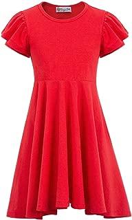 Danna Belle Girls Summer Cotton Double Layer Sleeves Irregular Hem A-Line Dress