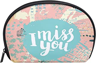 ALAZA I Miss You Half Moon Cosmetic Makeup Toiletry Bag Pouch Travel Handy Purse Organizer Bag for Women Girls