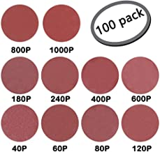 GeBot 100PCS 5-Inch NO-Hole PSA Aluminum Oxide Sanding Disc Self Stick Assorted 40/60/ 80/120/ 180/240/ 400/600/ 800/1000 Grits (5 Inch)