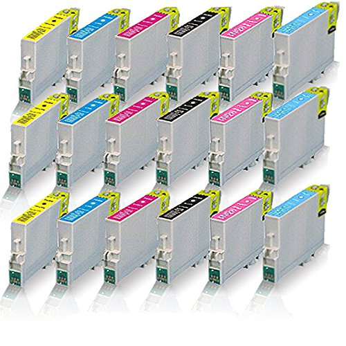 18x kompatible Tintenpatronen für Epson Stylus Photo R265 R285 R360 RX560 RX585 RX595 RX685 Schwarz - Black Cyan Magenta Yellow Light Cyan Light Magenta - Eco Print Serie