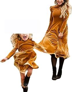 Vestido de Madre e Hija de Elegante Otoño Invierno Manga Larga Midi Vestidos Mama y Yo Fiesta Partido Familiar Ropa