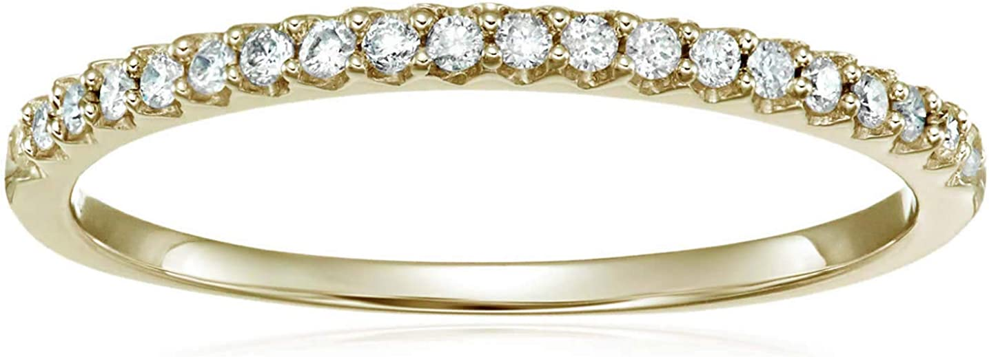 Vir Jewels 1/6 cttw Micropave Diamond Wedding Band in 10K Yellow Gold Prong Set