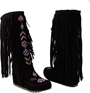 Knee High Boots for Women Moccasins Embroidered Fringed Booties Winter Flats Suede Long Snow Boots