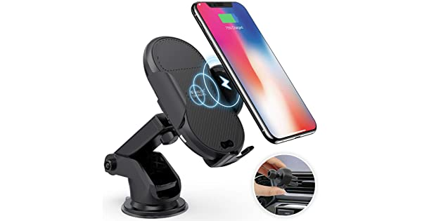 Compatible iPhone Xs//Xs Max//XR//X//8//8+ Samsung Note 9//8//7 S9//8//7 /& Qi Enabled Devices 7.5W//10W Fast Charging Megwoz Wireless Car Charger Mount Dashboard Air Vent Phone Holder Mount Auto-Clamping