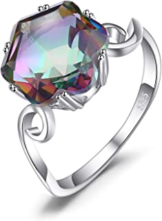 3.2ct Natural Gemstone Rainbow Quartz 925 Sterling Silver Solitaire Ring For Women