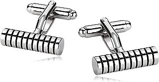 Cufflinks for Men Stainless Steel Cylinder Strips Round Circle Silver Black 0.6X2CM Silver Black