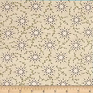"Henry Glass Cream 108"" Wide Quilt Backing Prairie Vine Fabric By The Yard"