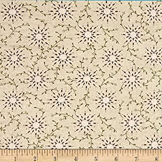 """Henry Glass Cream 108"""" Wide Quilt Backing Prairie Vine Fabric By The Yard"""