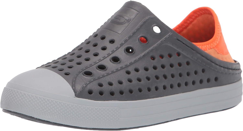 Skechers Boy's Foamies Guzman Steps-Aqua Surge Sneaker, Charcoal/Orange, 2 Little Kid