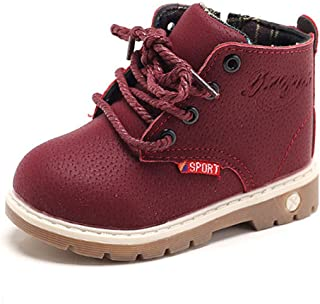 SOFMUO Baby Kids Boots - Boys Girls Rubber Sole PU Leather Shoes Hiking Ankle Boots Toddler/Little Kid