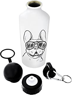 Dog Gifts French Bulldog Sunglasses Dog Water Bottle Gift Aluminum Water Bottle with Cap & Sport Top White