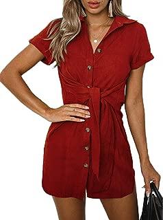 Qearal Womens Button Down Dress Summer V Neck Waist Tie Shirtdress Short Sleeve Tunic Shirt Dresses