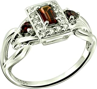RB Gems Sterling Silver 925 Ring Genuine GEMS Emerald-Cut 5x3 mm, Rhodium-Plated Finish, Knot Style