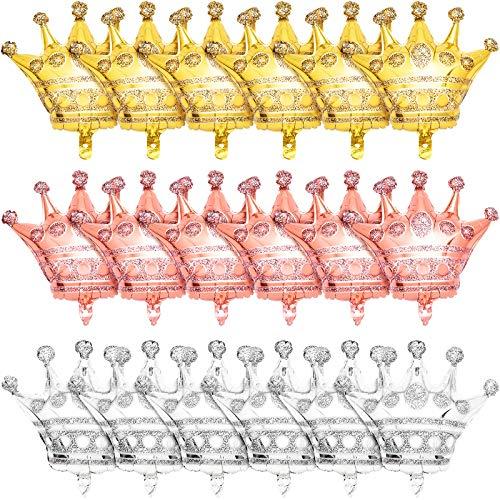 Skylety 18 Piezas Globos de Corona Grande Globos de Corona de Papel de Aluminio Globos de Corona de Oro Plata Oro Rosa para Decoraciones de Navidad Halloween Boda Cumpleaños, 23 x 23 Pulgadas