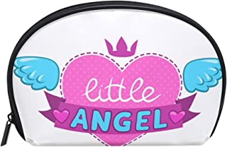 ALAZA Angel Wings Half Moon Cosmetic Makeup Toiletry Bag Pouch Travel Handy Purse Organizer Bag for Women Girls