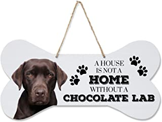 """LifeSong Milestones Chocolate Labrador Retriever Gifts, Pet Quote Dog Bone Wall hanging sign, Dog Lovers Gifts for women, Dog Owner Gift ideas for decorations, 8"""" x 16"""" (White Dog Bone- Chocolate Lab)"""