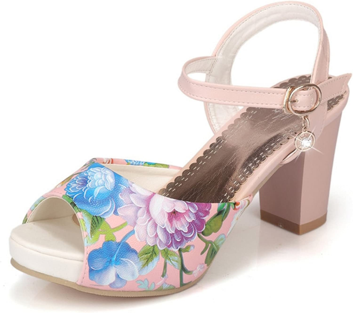 Nerefy Big Size 33-43 Chucky High Heels Women shoes Sweet Printing Open Toe Platform Buckle Strap Sandals