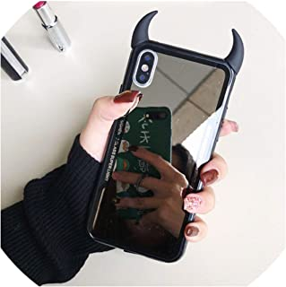 Luxury Mirror Phone Case for iPhone 7 6 6s 5 8 Plus Cute 3D Devil Horn Cover for iPhone X XS Max XR Hard Acrylic Back Case Coque,A1,for i7Plus i8Plus